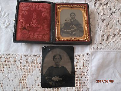 Antique Ambrotype Mother W Child Case 1/4 Woman Baby Photo Patent DateTin Type 2