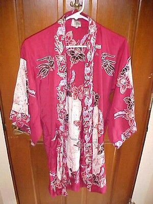 Batik Popiler Women's L Cotton Floral Gown Kimono Robe Beach Cover Sash Belt EUC