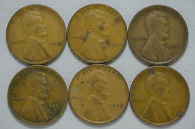1909, 1924, 1931-D, 1932, 1933, 1933-D Lincon Wheat Cent 6 PC Coin Lot (bb1044)