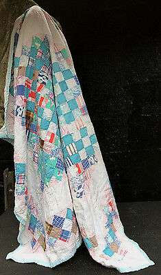 Antique American Hand Made Patchwork Baby Crib Cot Quilt