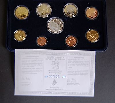 """Finland / Finnland. 2002  Euro """"proof"""" Set. Official  < 8 Coins + Silver Medal >"""