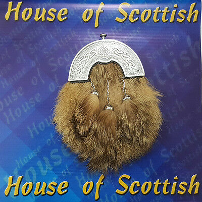 Brand New Scottish Fox Fur Celtic Cantel Real Leather Kilt Sporran Chain/Belt .