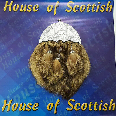 Brand New Scottish Fox Fur Celtic Cantel Real.Leather Kilt Sporran Chain & Belt
