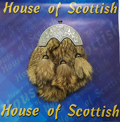 Brand New Scottish Fox Fur Celtic Cantel Real.Leather Kilt Sporran Chain / Belt