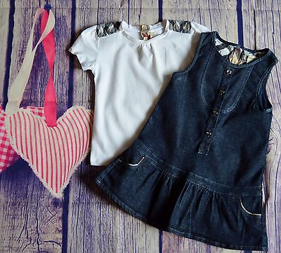 Burberry Baby Girls Designer Clothes Denim Dress & Matching T-shirt 18 Month VGC