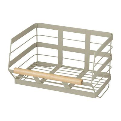 NEW Pantry Stackable Storage Basket w/ Wooden Trim