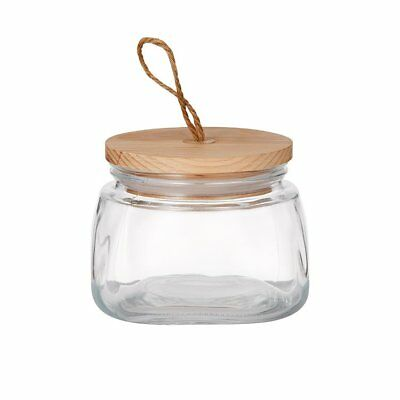 NEW Pantry Square Glass Canister w/ Wooden Lid 1L
