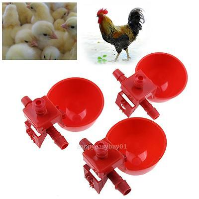 10pcs Automatic Bird Coop Duck Feeder Poultry Water Cups Chicken Fowl Drinker US