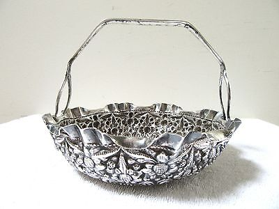 Quality Antique Chinese Export Brides Basket Sterling Silver Ornate Repousse