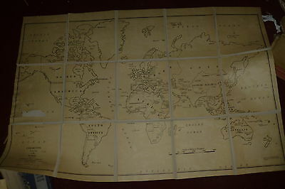 Vintage Clear Type Outline Map of the World 1944 on backing 36 x 48 inches