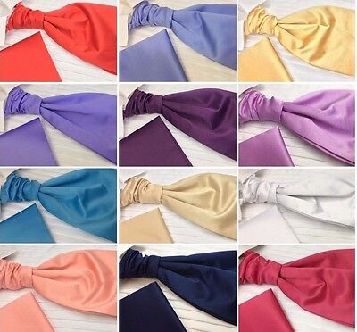 Boy's Designer Cravat Scrunchie Matching Pocket Square Satin Finish UK Branded