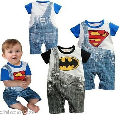 Batman Superman DC Superhero Dungaree Style Baby Grow Romper Suit