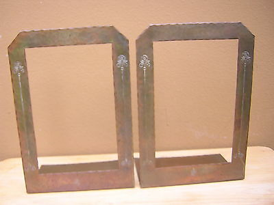 Rare Arts & Crafts Vintage Roycroft Copper Hammered Bookends Early Mark ROSES