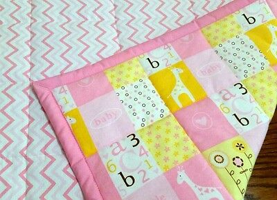 """NEW, HANDMADE, """"LITTLE CUTIE"""", 35x44in, PINK FLANNEL, BABY QUILTED BLANKET -GIFT"""