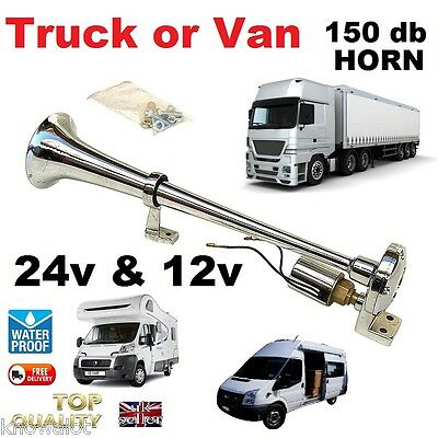 12V 24V Easy Metal Chrome Air Horn Loud HGV Lorry Truck 24 Volt & 12 Volt VOLVO