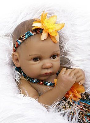 "Full Body Silicone Reborn Baby Girl Doll Mini 11"" Black Real African American"