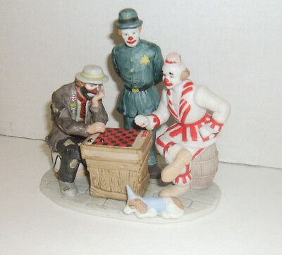 New Flambro Kelly Miniature Collection Emmett Kelly Jr. Playing Checkers