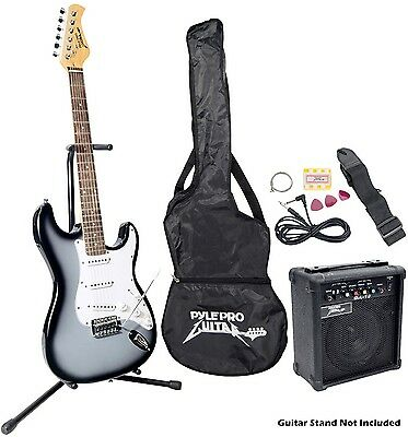 Beginner Electric Guitar Package AMP Learn Play Band Rock Grey Silver