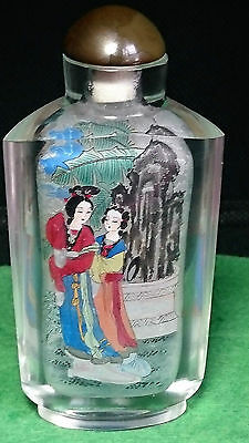 Vintage Chinese Snuff Bottle Inside Reverse Hand Painted Rock Crystal Or Glass