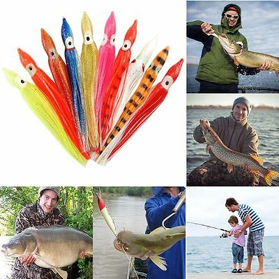 5pcs Soft Silicone Fishing Tackle Squid Skirt Lure Saltwater Octopus Bait