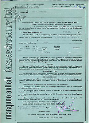 YARDBIRDS Jeff Beck 1965 Marquee Club Contract Signed Giorgio Gomelsky 7/31/65