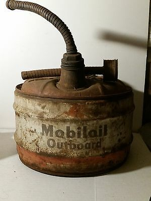Vintage Mobil Oil Outboard can Fuel Gas Pegasus 2.5 Gallon
