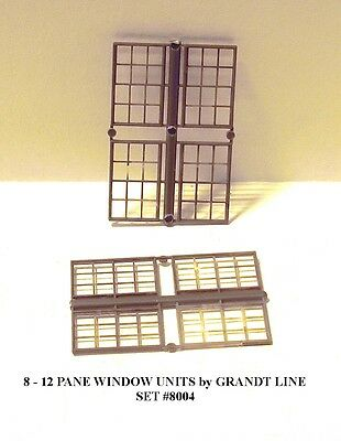 N Scale: 8 - 12 PANE WINDOW UNITS by GRANDT LINE #8004