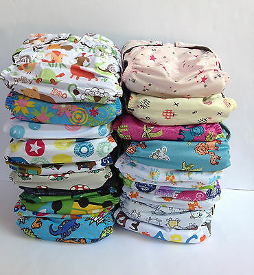 20  Bamboo Cloth Nappies Baby Charcoal Nappy New Reusable One Size Inserts