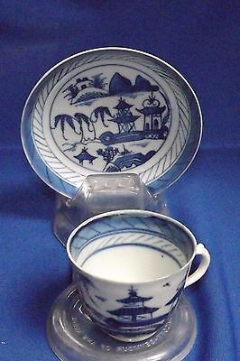 Antique-19thc-Chinese-Canton-Porcelain-Blue & White-Demitasse- Cup & Saucer