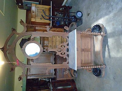 Antique Oak Hall Tree With Marble Top