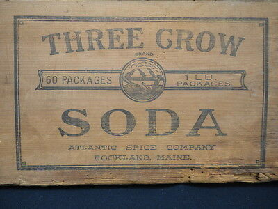 Three 3 Crow Brand Atlantic Spice Maker Wood Shipping Crate Box Rockland ME