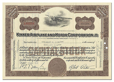 Kinner Airplane and Motor Corporation Stock Certificate