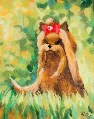 New OOAK Yorkshire Terrier Wool Art Wall Wart Textile Art Felted Wool  Painting