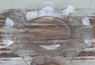 Cambridge - Wildflower - Rare Massive Etched Glass Shallow Bowl - 17""