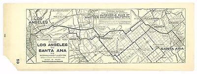 1920s Los Angeles to Santa Ana, Calif, AAA Automobile Club of Southern Calif Map