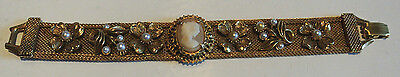 Signed Florenza Faux Pearl And Cameo Bracelet - Circa 1940