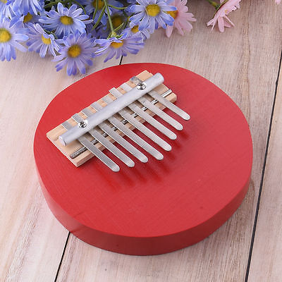 Red Round Pine Mbira Finger Thumb Piano Instrument Kids Musical Toy 8 Keys NEW