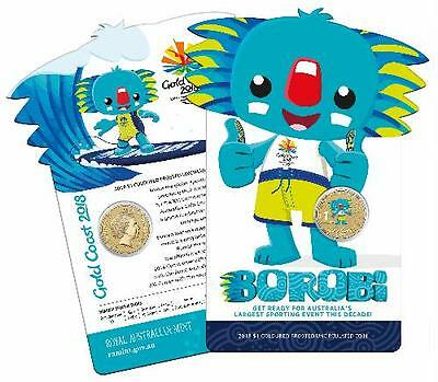 2018 $1 COLOURED FROSTED UNCIRCULATED COIN - XXI Commonwealth Games - BOROBI
