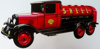 Shell Service Tanker Die Cut All Weather Metal Sign   500 X 250