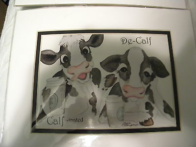 Lisa Rasmussen Cow Paintings Lot Of (2)5X7 Matted/holy Cows&decalf&decalfinated