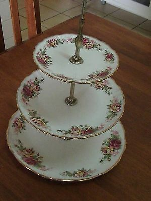 Old Foley 3 Tier Cake Stand Rose Garland