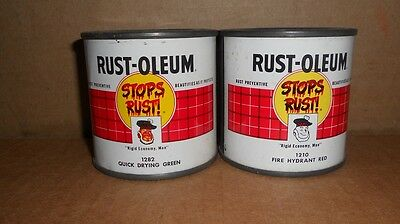 Vintage Lot of 2 Rust Oleum Half Pint Paint Cans Full Unopened  Great Graphics