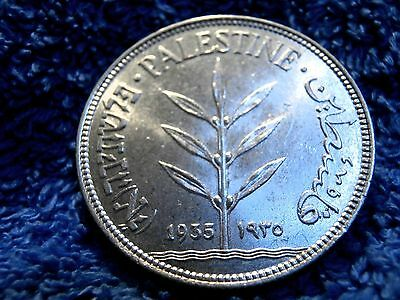 Palestine: 1935 Scarce Silver 100 Mils Uncirculated!!