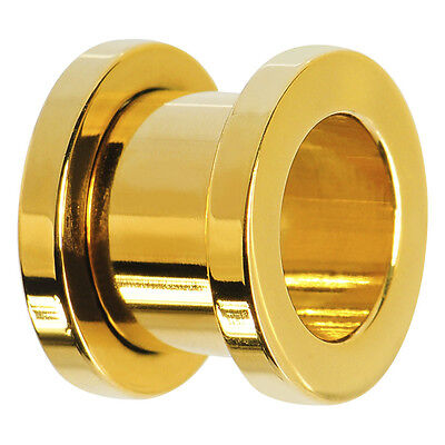 24k Gold Anodized Over Surgical Steel Screw-on plugs/ tunnels Nickle Free 1 Pair