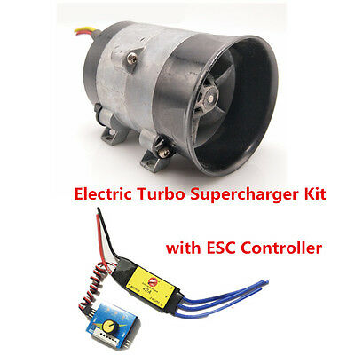 12V Car Electric Turbo Supercharger Kit Air Intake Fan Boost Thick Wire w/ESC
