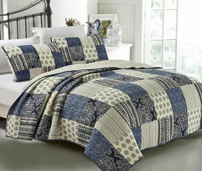 French Country Vintage Inspired Patchwork Bed Quilt HORIZON New Coverlet