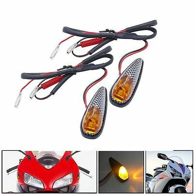 2x Carbon 12V Mini LED Motorcycle Turn Signal Indicator Blinker Light New AU
