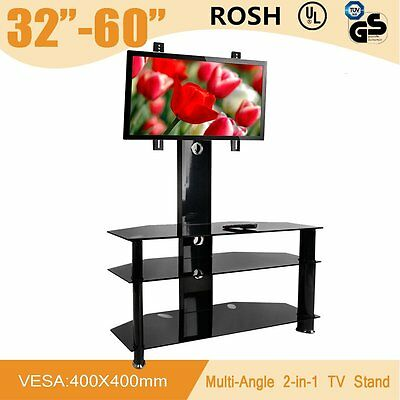 Black Glass LCD LED Plasma TV Stand Mount Bracket Entertainment Unit High Gloss