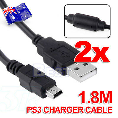 2X USB Power Wireless Game PS3 Controller Charger Cable Charging For PS3
