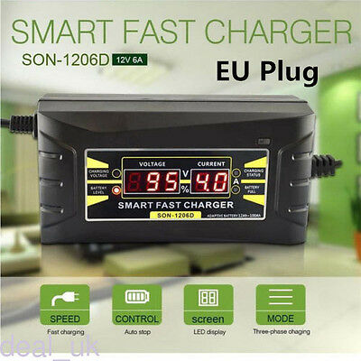 12V 6A Full Automatic Smart Auto Car Lead-acid Battery Charger EU Plug Socket